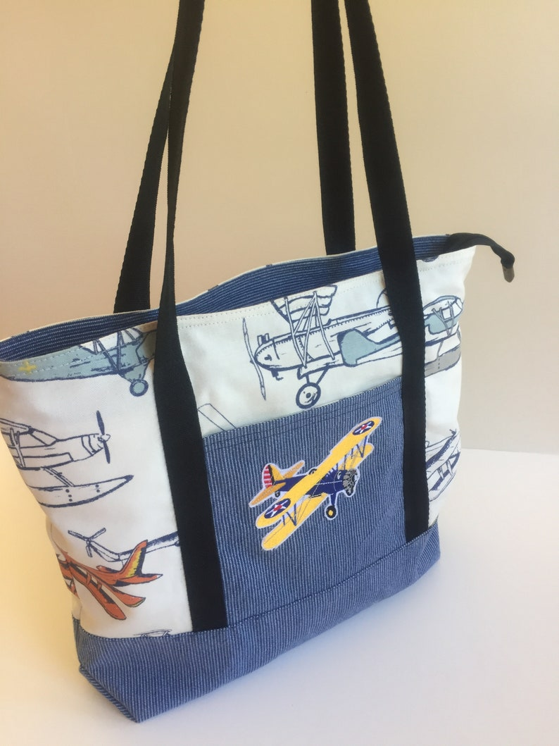 Free Ship Flying Stearman Tote Bag  Three internal pockets - secure zipper  and slip  Webbing straps  Book Bag size biplane/airplane/aviation