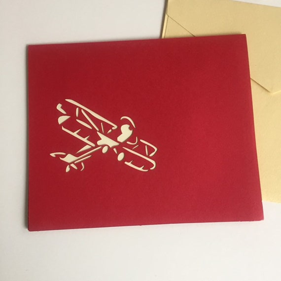 Waco airplane popup Laser cut pilot gift Free shipping. 3-D Red and Gold Biplane Pop Up Greeting Card with Envelope