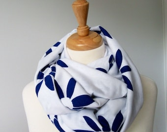 White with Navy Blue Flower Infinity Scarf