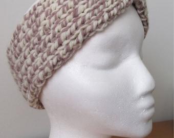 Mauve and Cream Winter Headband