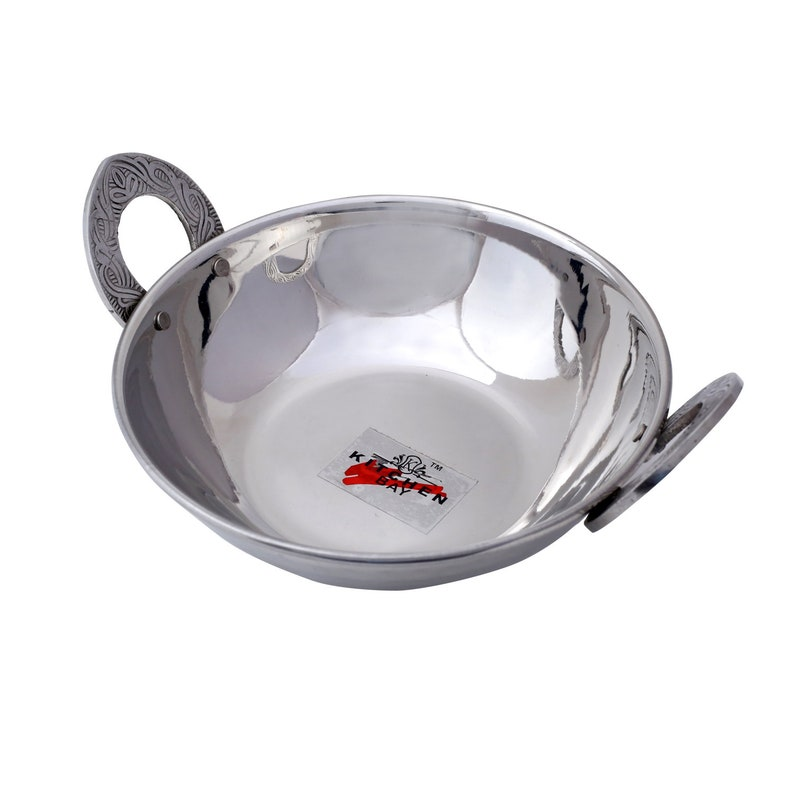 1 Pc Indian Stainless Steel Handmade Hammered Kadai Dishes Vegetable Serving Bowl