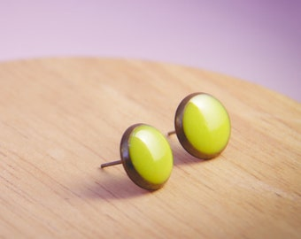 Simple Round Stud Earrings Citrus Earrings Brass Studs