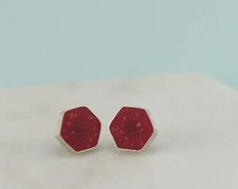 Stud Earrings. Silver Earrings. Everyday Earrings. Gift For Her. Studs. Jewelry. Birthday Gift. Red Earrings. Hexagon Studs. Geometric Studs