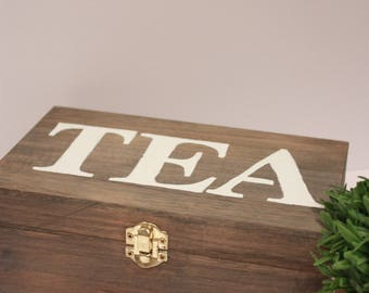 Wooden Tea Box - Handmade, kitchen decor, home decor, housewarming gift, storage, gift, wood box