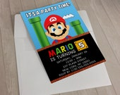"Super Mario Children's Birthday Invitation (7""x5"")"