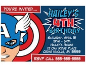 Captain America Comic Children's Birthday Invitation (Postcard Size)