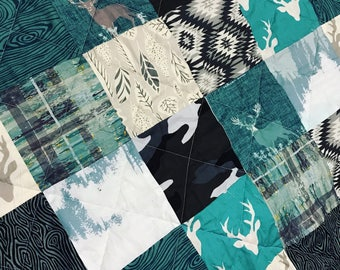 Woodland, grey, mint and blue, crib size, modern baby quilt