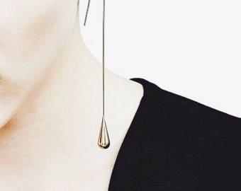 Water Droplet Dangle Earrings_ Long/short Gold/Silver