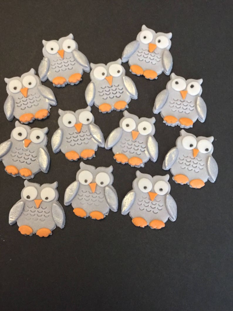 12 Owl cupcake toppers made out of fondant