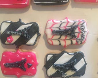 Paris themed sugar cookies set of 12