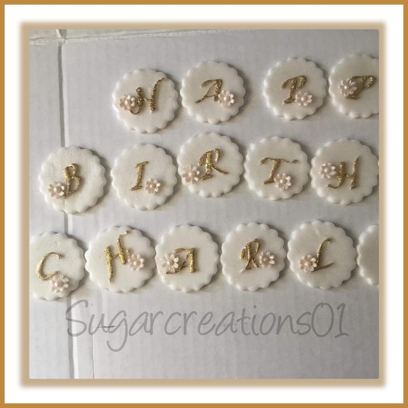 up to 25 Cupcake toppers Edible Mini cupcake toppers Happy Birthday logo
