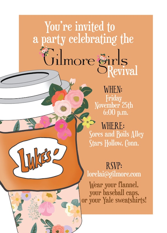 gilmore girls invitation party invite etsy