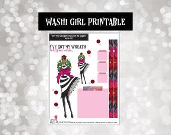 Wreath Girl (Mocha) | Washi Girls | Planner Stickers |  | Fashion Doll | Printable | Digital | Downloads