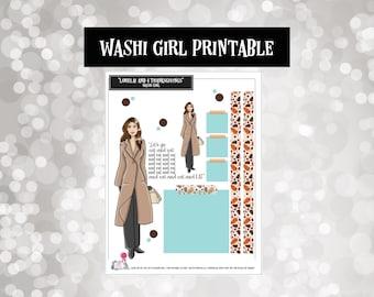 Lorelai Gilmore and 4 Thanksgivings | Washi Girls | Planner Stickers |  | Fashion Doll | Printable | Digital | Downloads