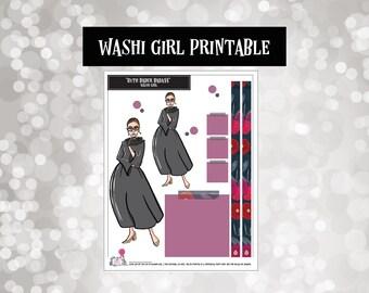 Ruth Bader Ginsburg | RBG | Washi Girls | Planner Stickers |  | Fashion Doll | Printable | Digital | Downloads