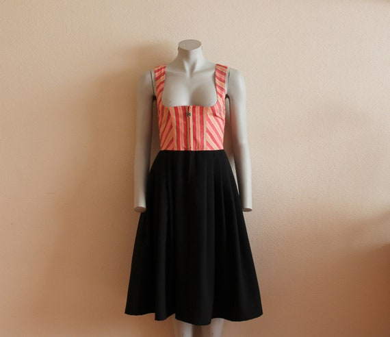 Dirndl Dress Vintage Dirndl Dress Peach Black Dirn