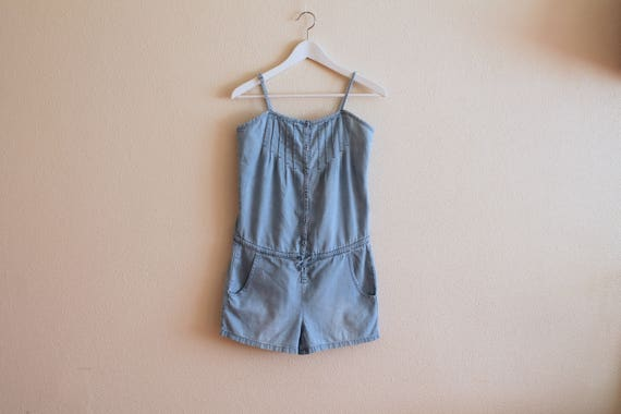 Vintage Denim Overall Shorts Light Blue Shorts Den