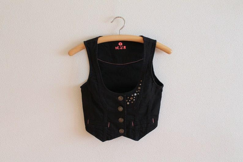 264bbf09f Short Black Denim Vest Women s Studded Denim Vest Womens