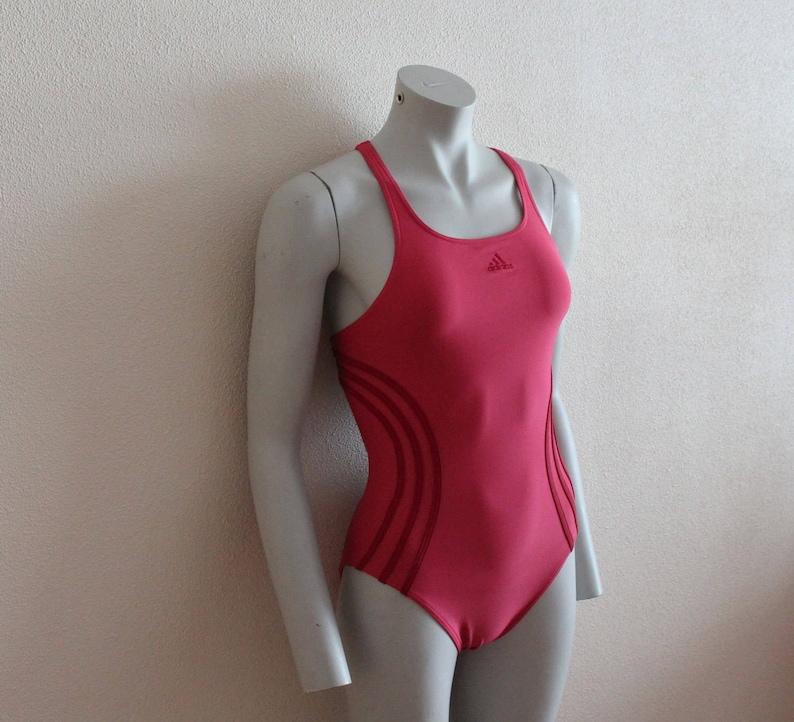 5c32eb8d62 ADIDAS Pink Vintage One Piece Swimsuit Sport Womens Swimwear