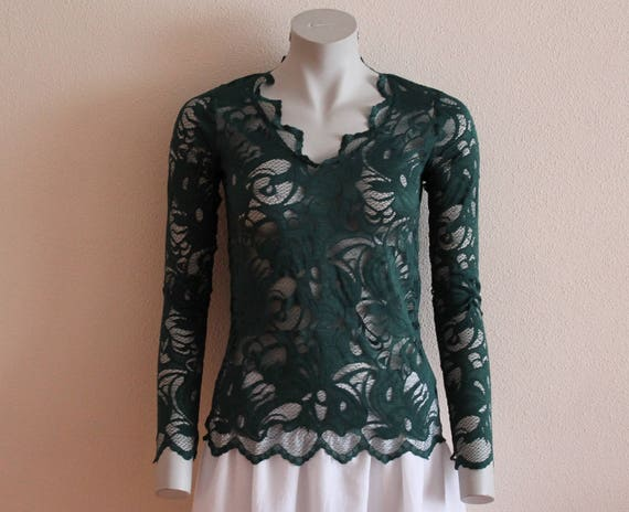 Women's Blouse Green Lace Blouse Forest Green Wome