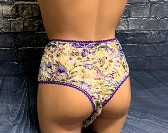 5e7c385ceea Purple Flowers High Waisted Cheeky CD TS Panties