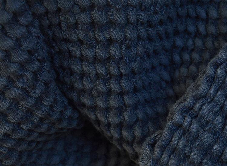 XXL Allrounder Bed Overlay Plaid Blanket Linen Blend Stonewashed-Prewashed Waffle Lpique 230 x 250 cm, Anthracite
