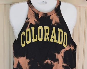 CU Boulder Sleeveless Cropped Tee with Trim