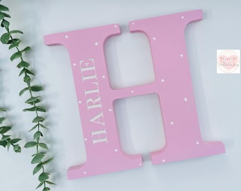 Wooden Letter, Engraved with name, Nursery Decor, New Baby Gift, 20cm tall. Lovely personalised letter gift