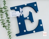 Wooden Letter, Initial, kids bedroom decor, nursery decor. 20cm tall with personalised card tag