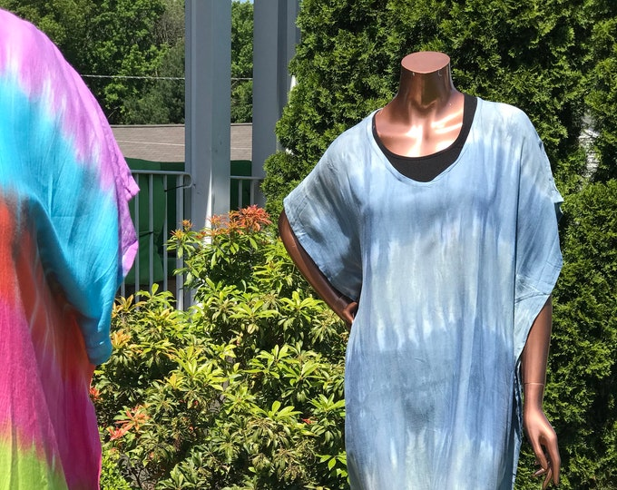 Oversized Relaxed fit kaftan tshirt dress in an in Multi colored Tie dyed midi length