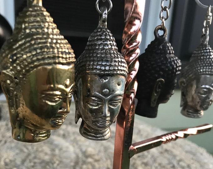 Bronze mini buddha statue mindful key rings or bag charms