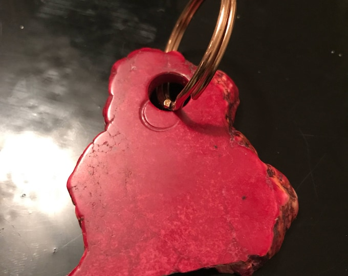 Red dyed howlite 45mm natural shaped key ring or bag charm