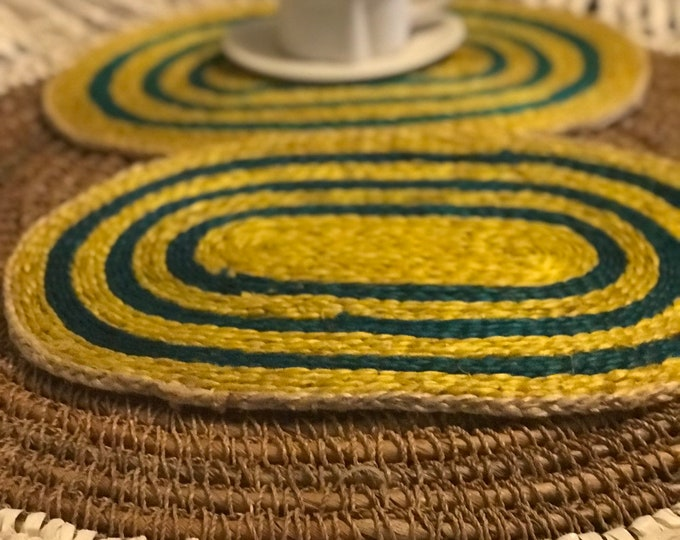 Vintage Oval shaped bright colored tricolor blended jute placemats