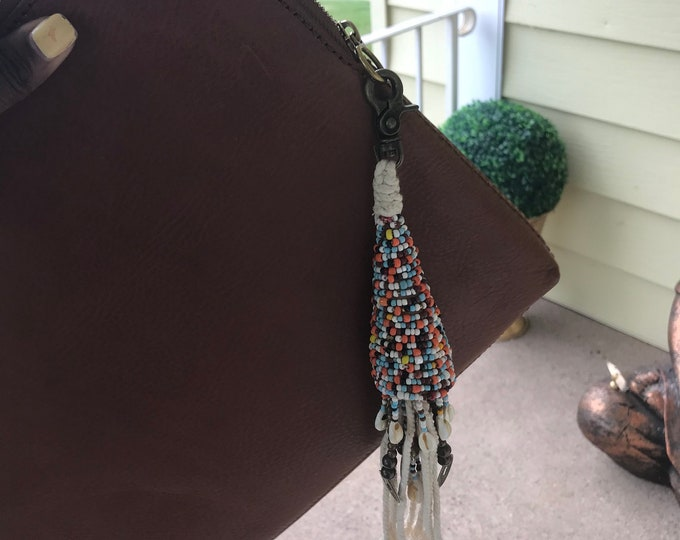 Colorful hand Beaded shell, rope, tassle clip on bag charm