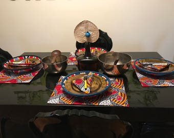 African Ankara Colorful Wax Print Placemat And Matching Cocktail Napkins