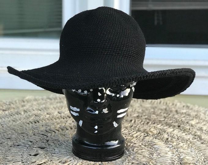 Black floppy crochet knit wide brim hat