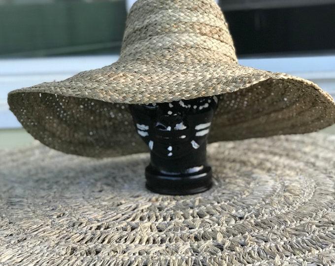 Wide brim braided rattan sun hats