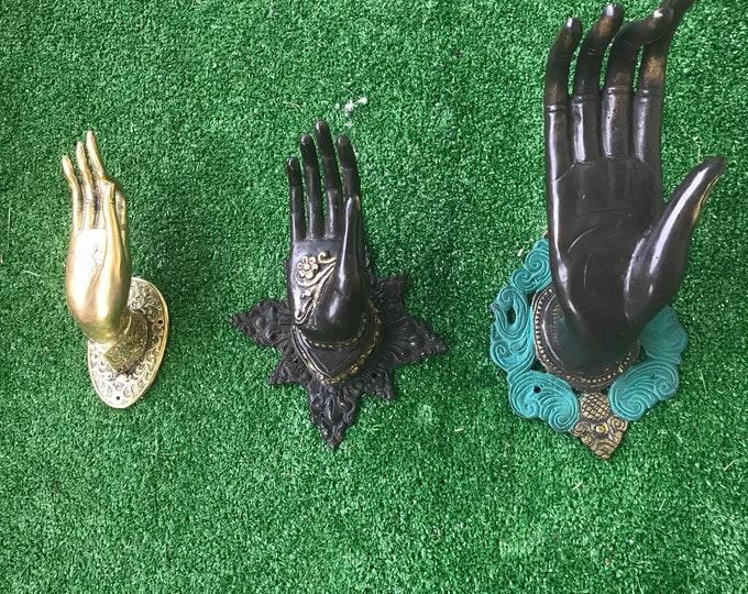 Vintage bronze lost wax hand casted Buddah mudra dummy door knobs or wall hangers