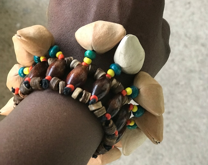 Wooden Beaded bracelet anklet ot arm band with rasta colored accents
