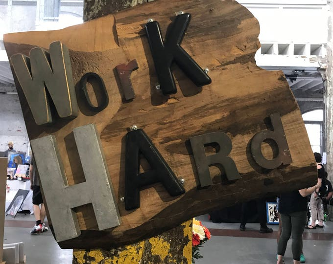 Mixed Media Inspirational Work Hard Art Wood Sign With upcycled Plastic and Metal Vintage Letters