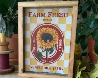 Sunflower Kitchen Sign/ Farmhouse Decor/ Western Home/ French Country Decor/ Vintage Farmhouse Style/ Rustic Barnwood Decor