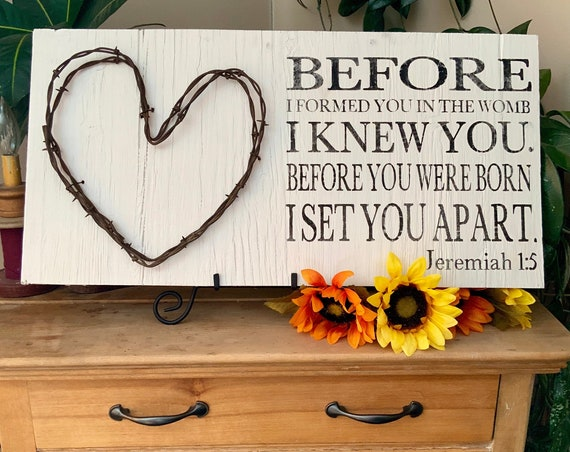 Bible Verse Sign, Scripture Verse Sign, Before I Formed You in the Womb, I Knew You, Jeremiah 1:5, Barbed Wire Western Decor, Rustic Decor