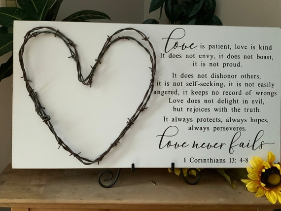 Love is patient, Bible verse sign, hand painted with barbed wire heart, 1 Corinthians 13 scripture, wedding anniversary gift