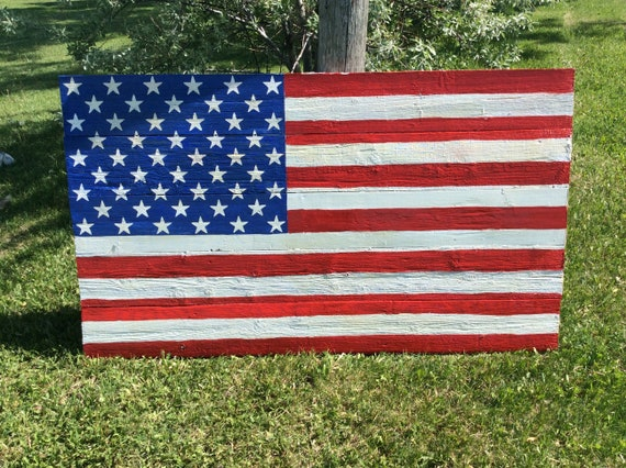 American Flag, United States Flag, Large Wooden Flag, Free Shipping, 3'x5' Flag, Barnwood Flag, Rustic American Flag, Handcrafted Flag