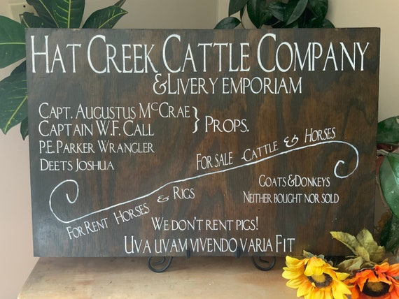 Lonesome Dove, Hat Creek Cattle Company, Western Sign, Western Home decor, man cave, Rustic Decor, Barnwood Sign, Cowboy Sign, Ranch Sign,