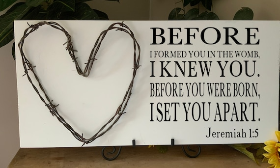 Before I Formed You, Bible Verse Sign, Scripture Verse Sign, baby shower gift, child's room, barbed wire art, Western Decor, Rustic Decor