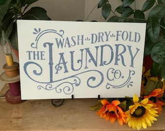 Laundry Room Sign/ Country Style/ Farmhouse Decor/ The Laundry Co., Wash, Dry, Fold/ Laundry Room Decor/ Western Decor