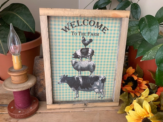 Welcome To The Farm/ Farm Animal Pyramid/ Rustic Western Home/ French Country Farmhouse Sign