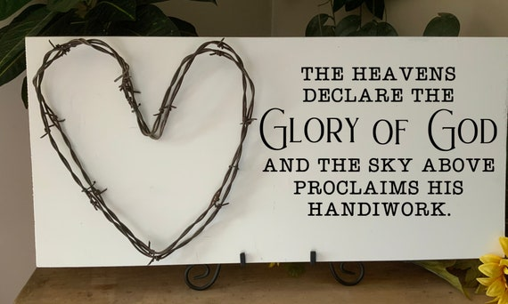 The Heavens Declare Gods Glory, Bible Verse Sign, Scripture Verse Sign, barbed wire art, living room sign, Western Decor, Rustic Decor