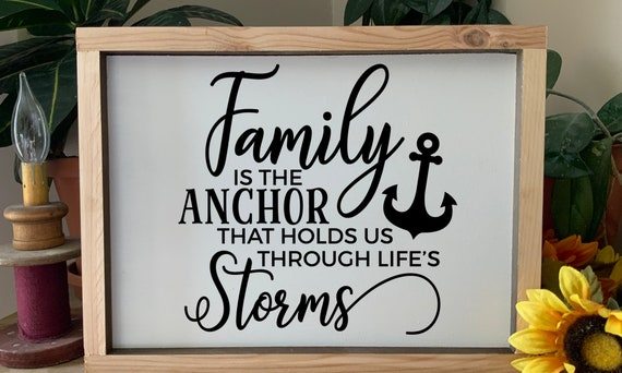 Family is the Anchor that holds us through life's storms, Family Rustic Western Framed Sign,  Housewarming Wedding Gift